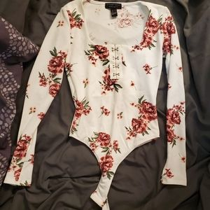 Floral Square Neck Hook-and-Eye Bodysuit